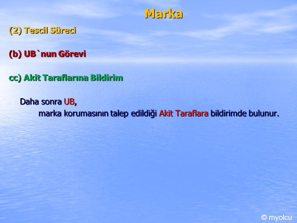 Marka (2) Tescil Süreci (b) UB`nun Görevi cc) Akit Taraflarına Bildirim Daha sonra UB, marka korumasının talep edildiği Akit Taraflara bildirimde bulunur.