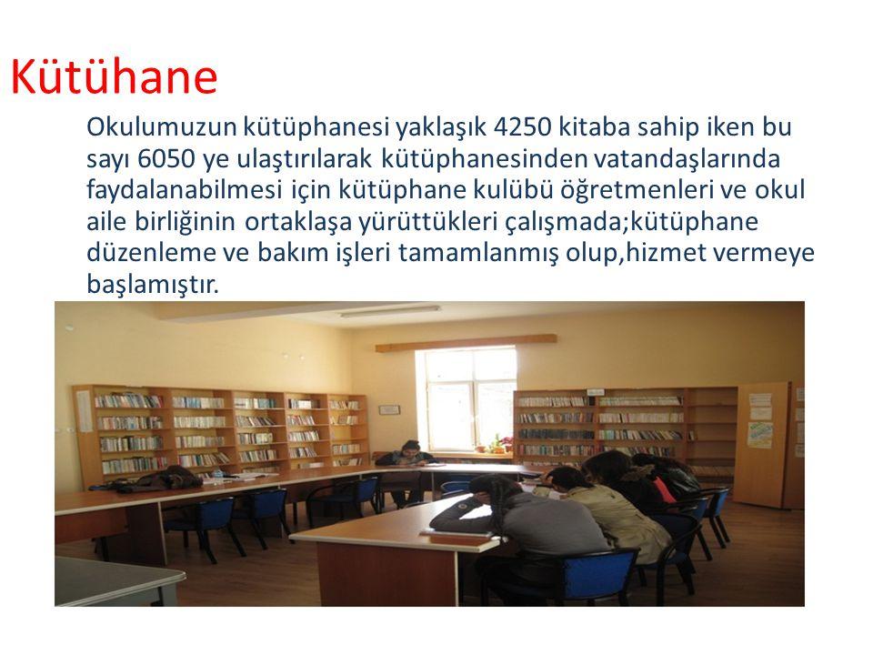 Kütühane Okulumuzun kütüphanesi yaklaşık 4250 kitaba sahip iken bu sayı 6050 ye ulaştırılarak kütüphanesinden vatandaşlarında faydalanabilmesi için kütüphane kulübü öğretmenleri ve okul aile birliğinin ortaklaşa yürüttükleri çalışmada;kütüphane düzenleme ve bakım işleri tamamlanmış olup,hizmet vermeye başlamıştır.
