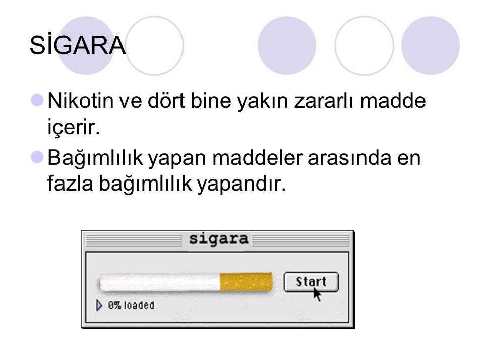 SİGARA Nikotin ve dört bine yakın zararlı madde içerir. Bağımlılık yapan maddeler arasında en fazla bağımlılık yapandır.