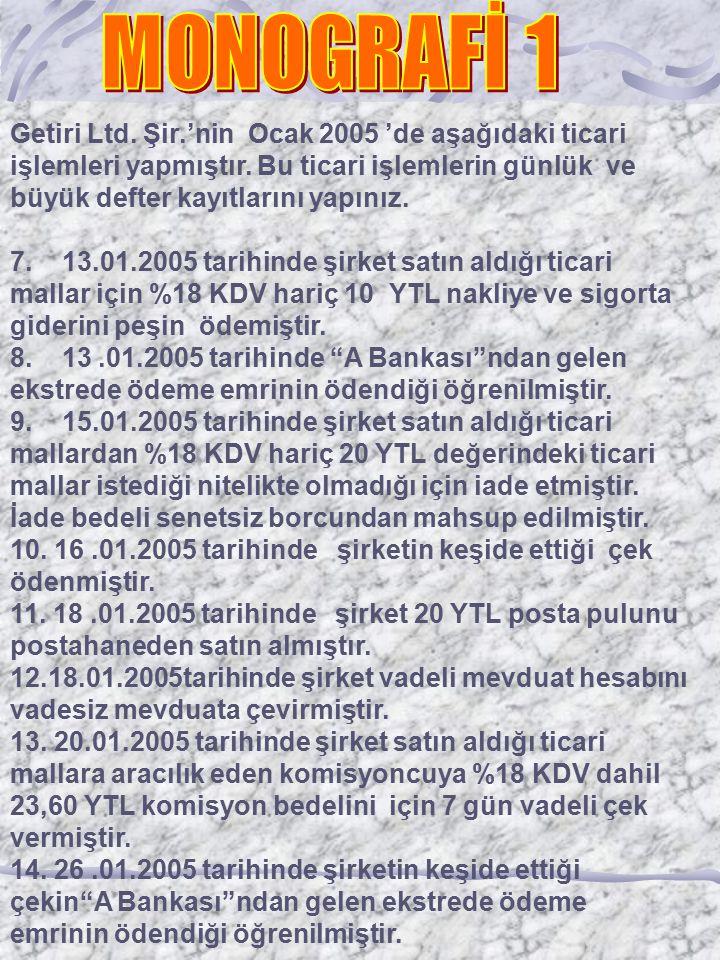 Getiri Ltd.Şir.'nin Ocak 2005 'de aşağıdaki ticari işlemleri yapmıştır.