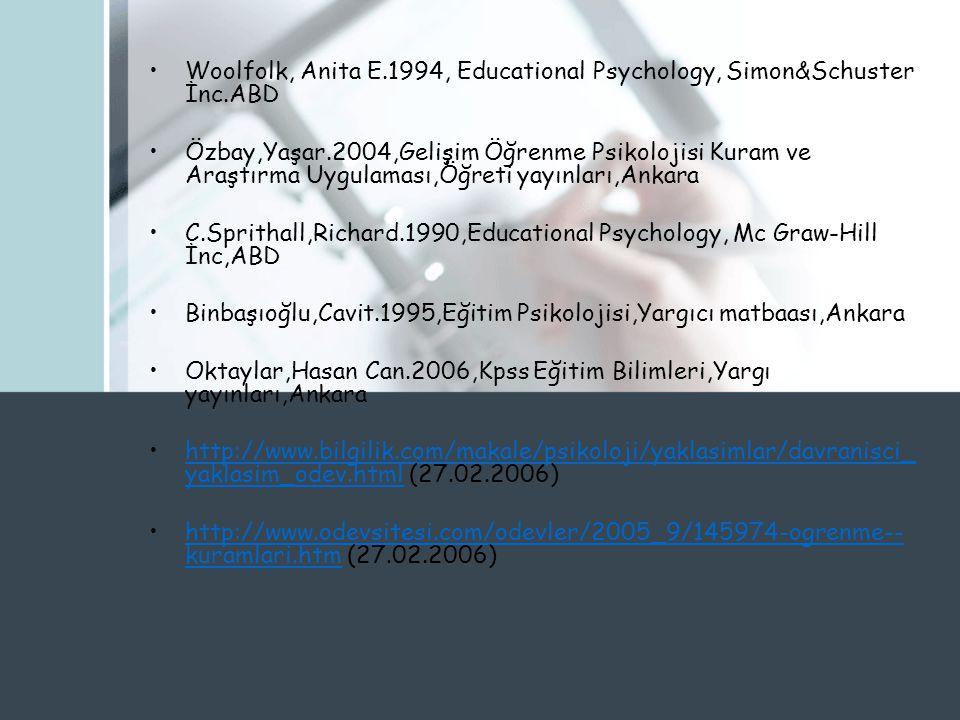 Woolfolk, Anita E.1994, Educational Psychology, Simon&Schuster İnc.ABD Özbay,Yaşar.2004,Gelişim Öğrenme Psikolojisi Kuram ve Araştırma Uygulaması,Öğreti yayınları,Ankara C.Sprithall,Richard.1990,Educational Psychology, Mc Graw-Hill İnc,ABD Binbaşıoğlu,Cavit.1995,Eğitim Psikolojisi,Yargıcı matbaası,Ankara Oktaylar,Hasan Can.2006,Kpss Eğitim Bilimleri,Yargı yayınları,Ankara http://www.bilgilik.com/makale/psikoloji/yaklasimlar/davranisci_ yaklasim_odev.html (27.02.2006)http://www.bilgilik.com/makale/psikoloji/yaklasimlar/davranisci_ yaklasim_odev.html http://www.odevsitesi.com/odevler/2005_9/145974-ogrenme-- kuramlari.htm (27.02.2006)http://www.odevsitesi.com/odevler/2005_9/145974-ogrenme-- kuramlari.htm