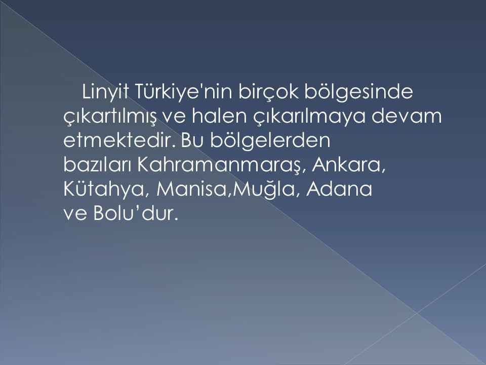 Linyit Türkiye'nin birçok bölgesinde çıkartılmış ve halen çıkarılmaya devam etmektedir. Bu bölgelerden bazıları Kahramanmaraş, Ankara, Kütahya, Manisa