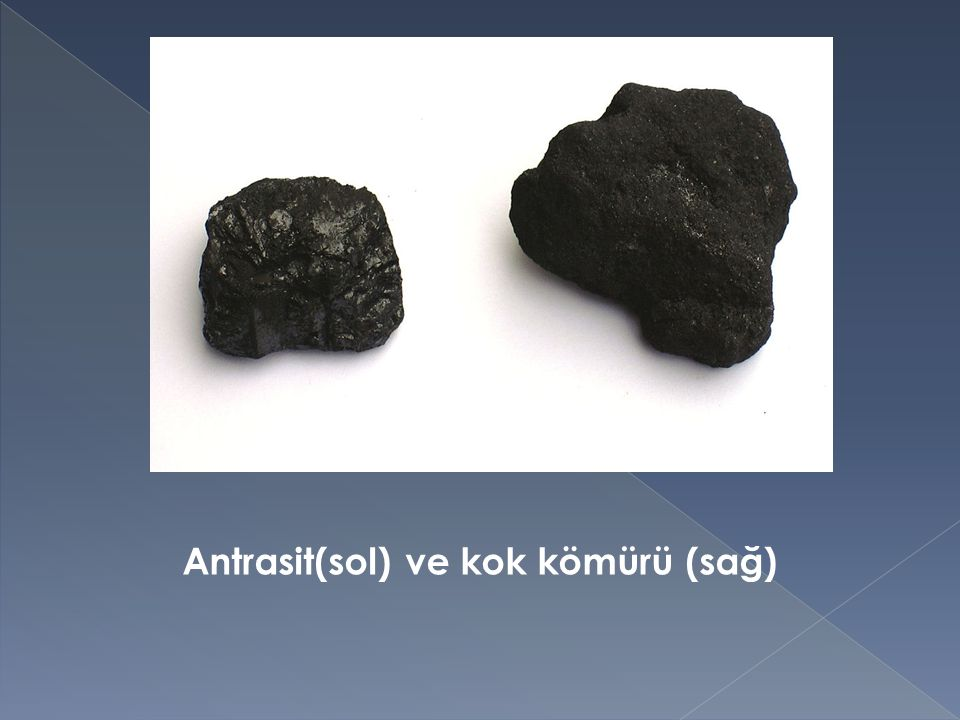 Antrasit(sol) ve kok kömürü (sağ)