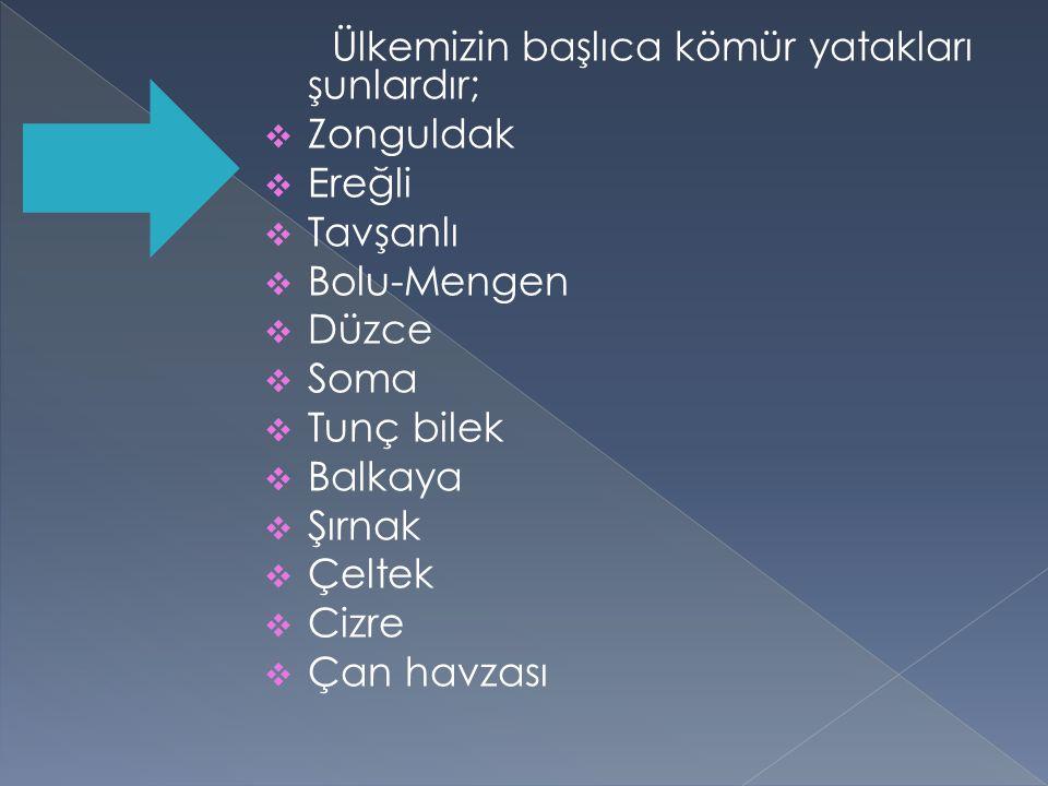 Ülkemizin başlıca kömür yatakları şunlardır;  Zonguldak  Ereğli  Tavşanlı  Bolu-Mengen  Düzce  Soma  Tunç bilek  Balkaya  Şırnak  Çeltek  C