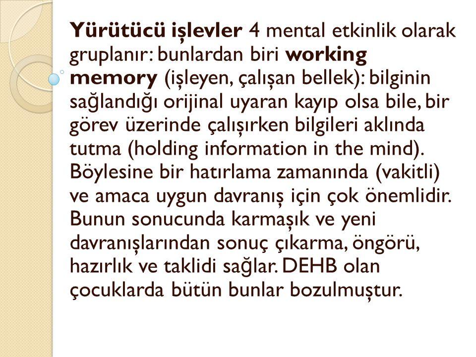 Yürütücü işlevler 4 mental etkinlik olarak gruplanır: bunlardan biri working memory (işleyen, çalışan bellek): bilginin sa ğ landı ğ ı orijinal uyaran
