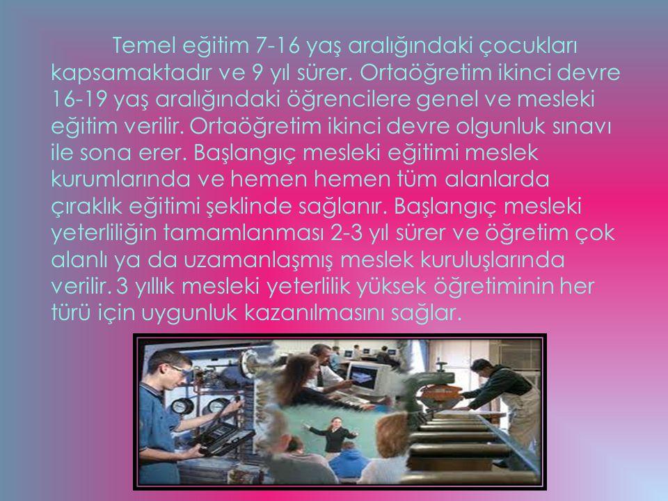Temel eğitim 7-16 yaş aralığındaki çocukları kapsamaktadır ve 9 yıl sürer. Ortaöğretim ikinci devre 16-19 yaş aralığındaki öğrencilere genel ve meslek