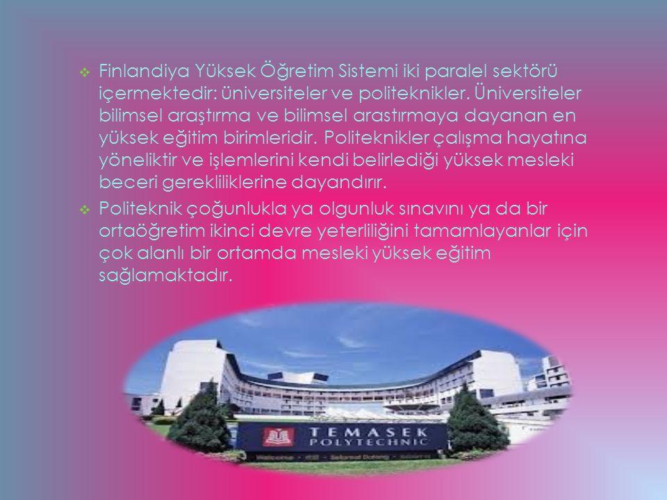  Finlandiya Yüksek Öğretim Sistemi iki paralel sektörü içermektedir: üniversiteler ve politeknikler. Üniversiteler bilimsel araştırma ve bilimsel ara