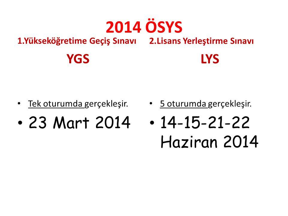 2014 ÖSYS 1.Yükseköğretime Geçiş Sınavı YGS Tek oturumda gerçekleşir.