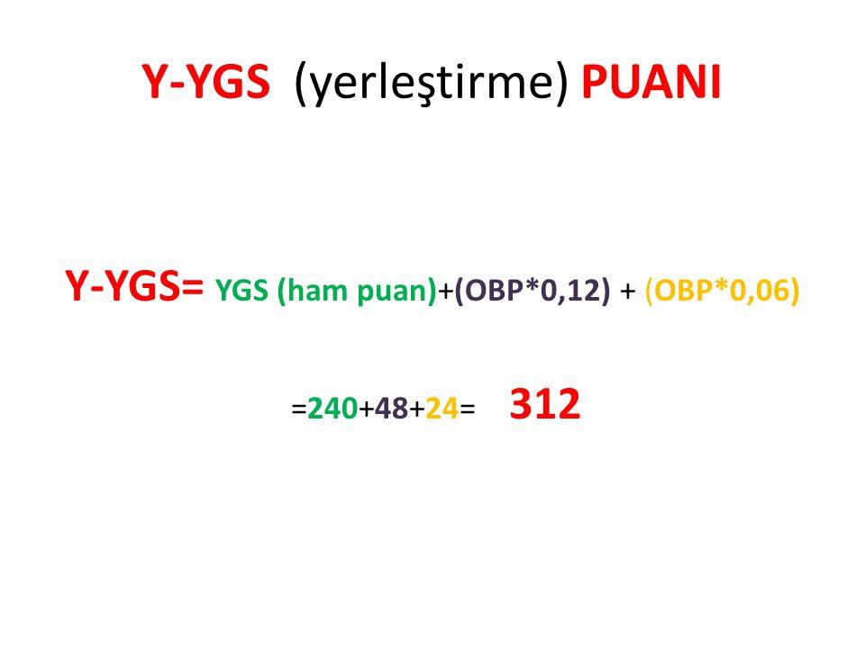 Y-YGS (yerleştirme) PUANI Y-YGS= YGS (ham puan)+(OBP*0,12) + (OBP*0,06) =240+48+24= 312