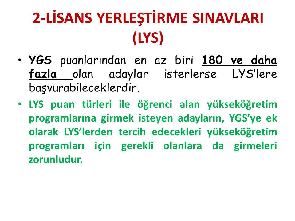 2-LİSANS YERLEŞTİRME SINAVLARI (LYS) YGS puanlarından en az biri 180 ve daha fazla olan adaylar isterlerse LYS'lere başvurabileceklerdir.
