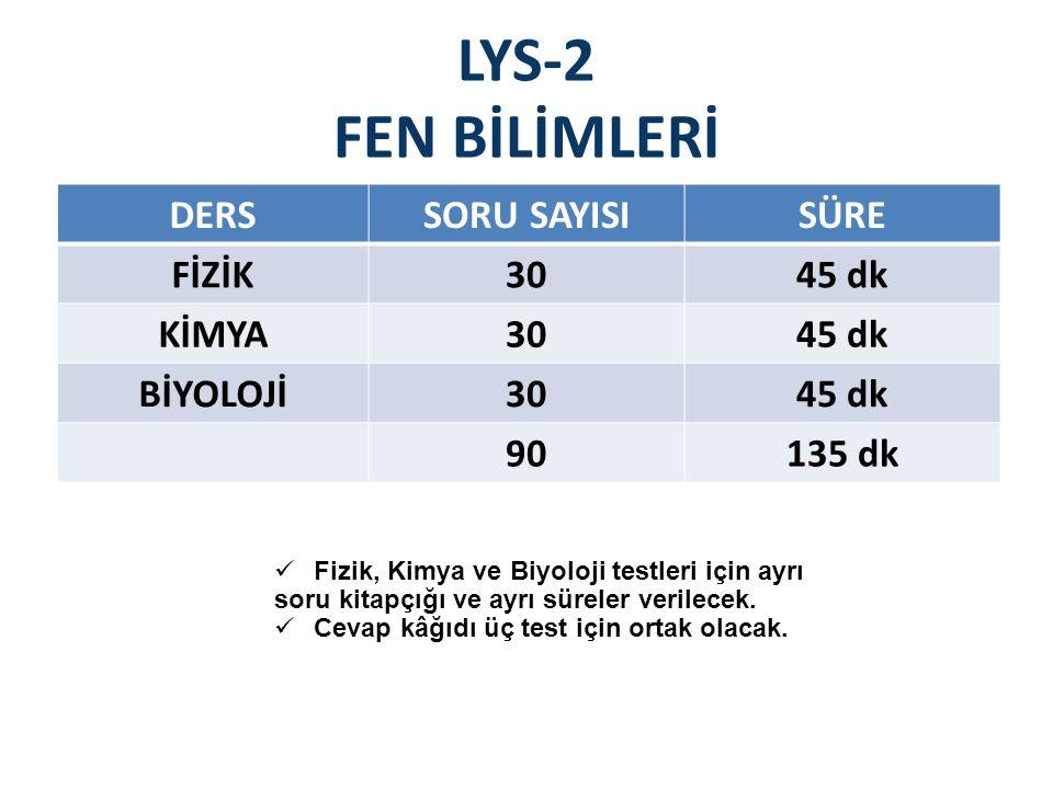 LYS-2 FEN BİLİMLERİ DERSSORU SAYISISÜRE FİZİK3045 dk KİMYA3045 dk BİYOLOJİ3045 dk 90135 dk Fizik, Kimya ve Biyoloji testleri için ayrı soru kitapçığı ve ayrı süreler verilecek.