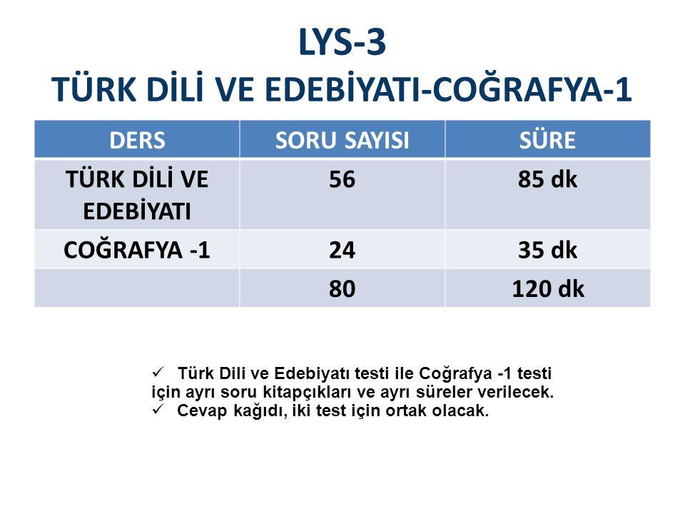 LYS-3 TÜRK DİLİ VE EDEBİYATI-COĞRAFYA-1 DERSSORU SAYISISÜRE TÜRK DİLİ VE EDEBİYATI 5685 dk COĞRAFYA -12435 dk 80120 dk Türk Dili ve Edebiyatı testi ile Coğrafya -1 testi için ayrı soru kitapçıkları ve ayrı süreler verilecek.