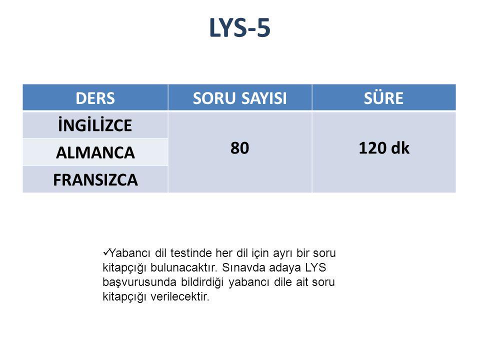 LYS-5 DERSSORU SAYISISÜRE İNGİLİZCE 80120 dk ALMANCA FRANSIZCA Yabancı dil testinde her dil için ayrı bir soru kitapçığı bulunacaktır.