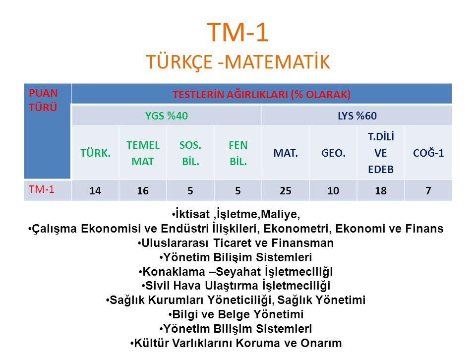 TM-1 TÜRKÇE -MATEMATİK PUAN TÜRÜ TESTLERİN AĞIRLIKLARI (% OLARAK) YGS %40LYS %60 TÜRK.
