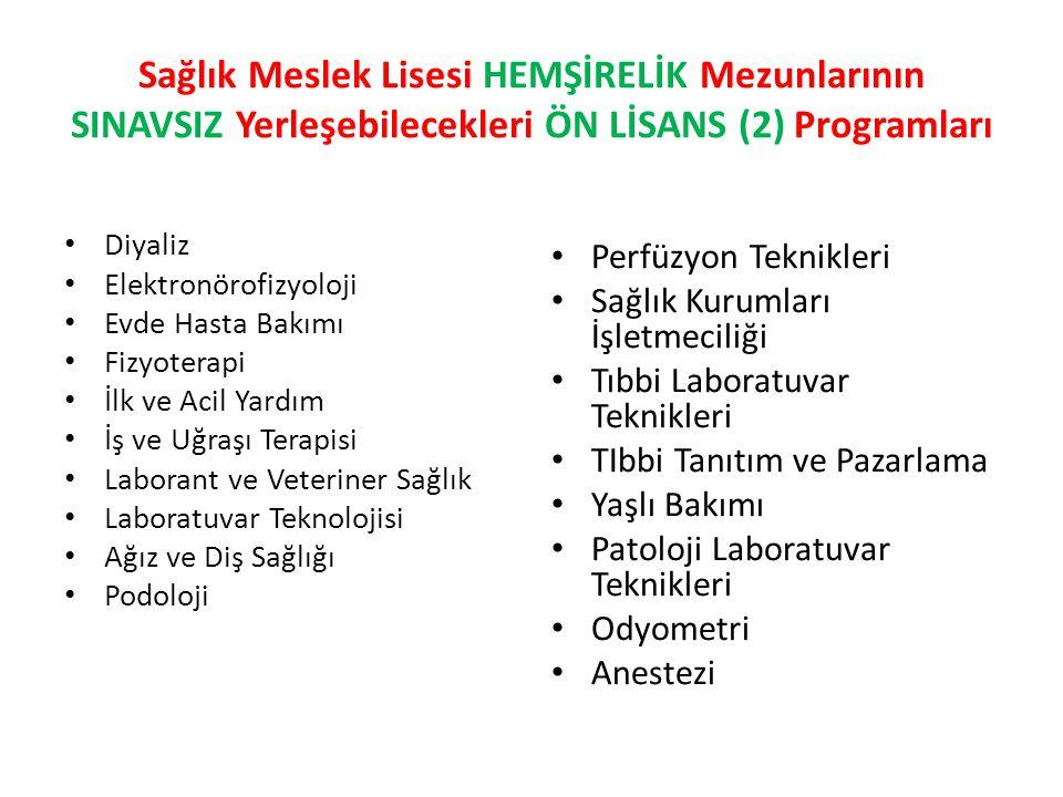 Sağlık Meslek Lisesi HEMŞİRELİK Mezunlarının SINAVSIZ Yerleşebilecekleri ÖN LİSANS (2) Programları Diyaliz Elektronörofizyoloji Evde Hasta Bakımı Fizyoterapi İlk ve Acil Yardım İş ve Uğraşı Terapisi Laborant ve Veteriner Sağlık Laboratuvar Teknolojisi Ağız ve Diş Sağlığı Podoloji Perfüzyon Teknikleri Sağlık Kurumları İşletmeciliği Tıbbi Laboratuvar Teknikleri TIbbi Tanıtım ve Pazarlama Yaşlı Bakımı Patoloji Laboratuvar Teknikleri Odyometri Anestezi