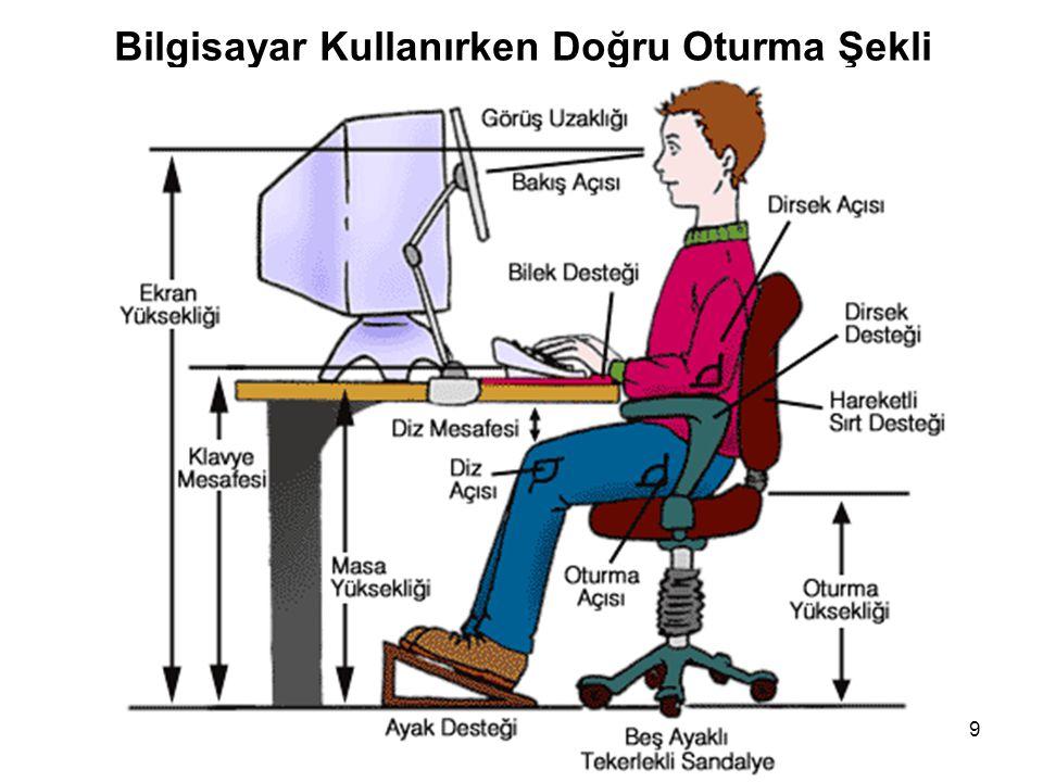 Güvenli Bilgisayar ve İnternet Kullanımı 9 Bilgisayar Kullanırken Doğru Oturma Şekli