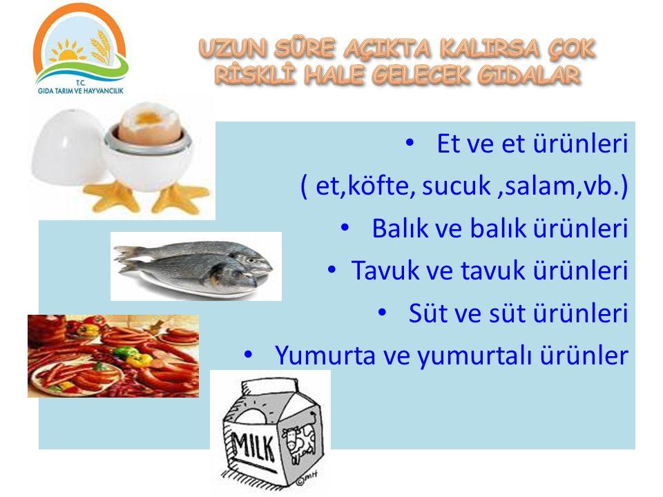 Et ve et ürünleri ( et,köfte, sucuk,salam,vb.) Balık ve balık ürünleri Tavuk ve tavuk ürünleri Süt ve süt ürünleri Yumurta ve yumurtalı ürünler