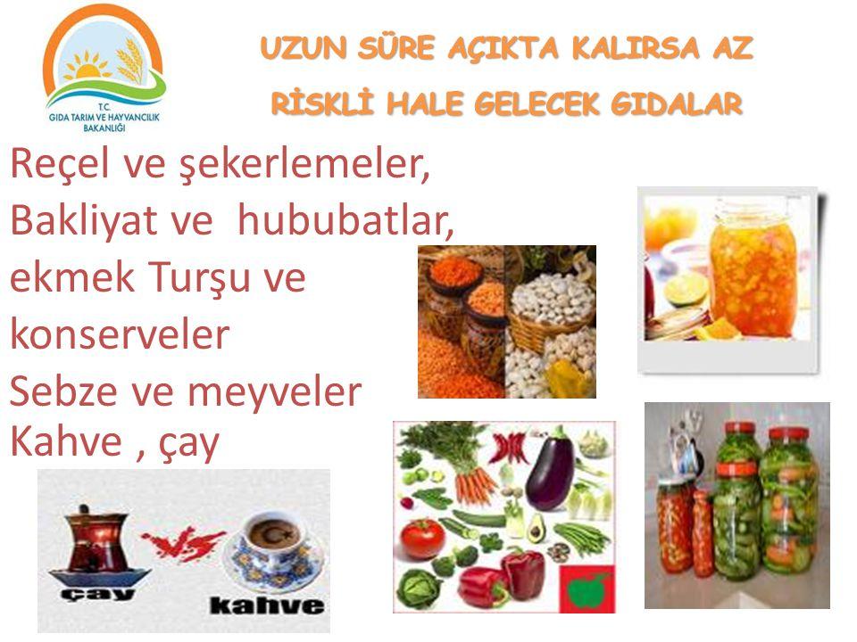 Reçel ve şekerlemeler, Bakliyat ve hububatlar, ekmek Turşu ve konserveler Sebze ve meyveler Kahve, çay