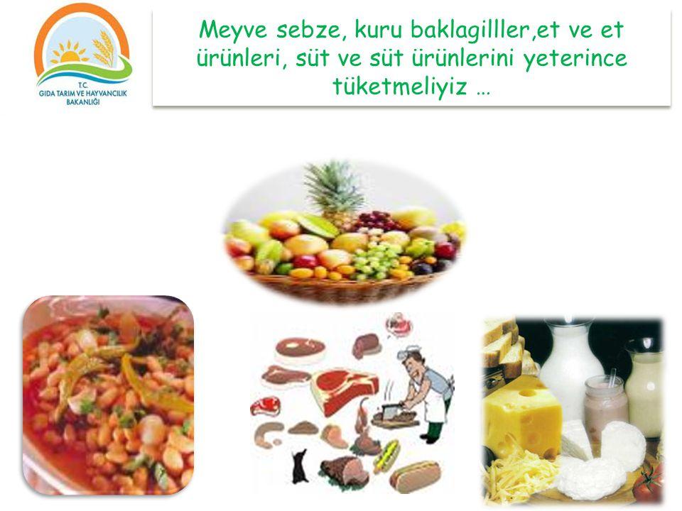 Meyve sebze, kuru baklagilller,et ve et ürünleri, süt ve süt ürünlerini yeterince tüketmeliyiz …