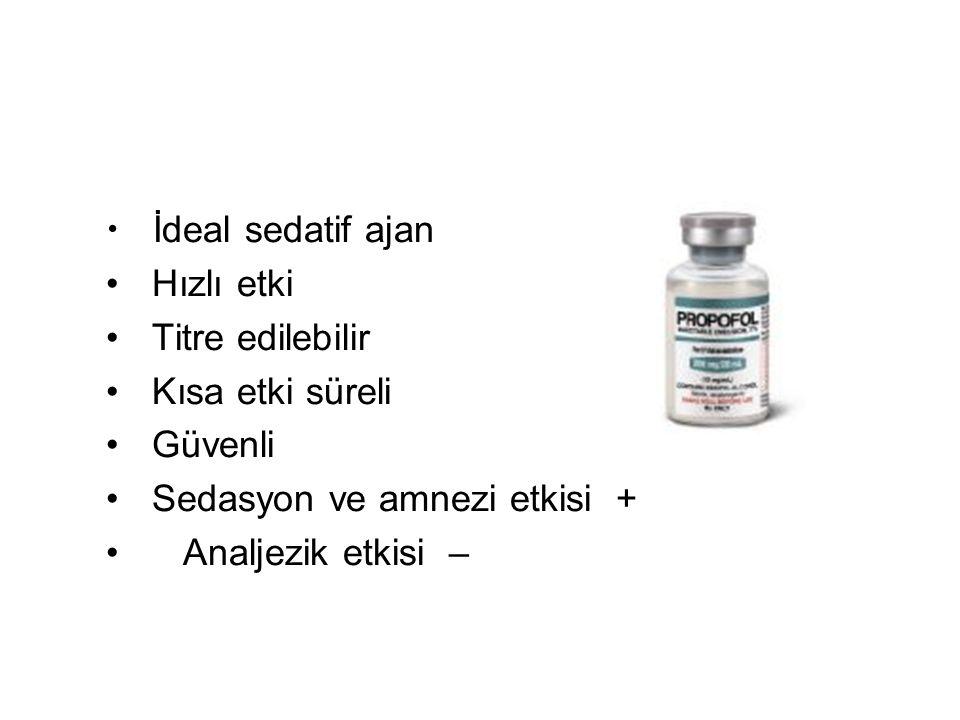 Propofol İdeal sedatif ajan Hızlı etki Titre edilebilir Kısa etki süreli Güvenli Sedasyon ve amnezi etkisi + Analjezik etkisi –