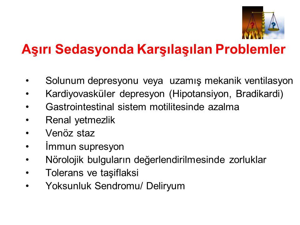 Aşırı Sedasyonda Karşılaşılan Problemler Solunum depresyonu veya uzamış mekanik ventilasyon Kardiyovasküler depresyon (Hipotansiyon, Bradikardi) Gastr