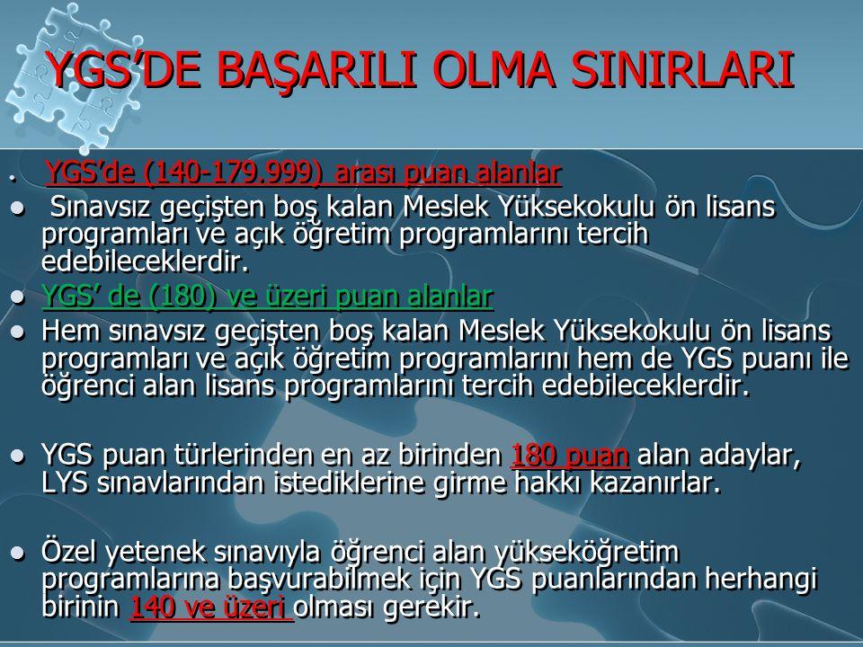 YGS'DE BAŞARILI OLMA SINIRLARI YGS'de (140-179.999) arası puan alanlar Sınavsız geçişten boş kalan Meslek Yüksekokulu ön lisans programları ve açık öğ