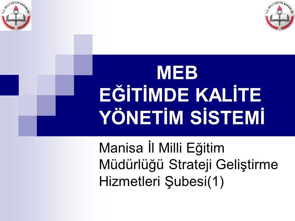 Manisa İl Milli Eğitim Müdürlüğü Strateji Geliştirme Hizmetleri Şubesi(1) İzleme ve değerlendirme MADDE 15- (1) İlde, Eğitimde Kalite Yönetim Sistemi uygulamalarının izlenmesi ve değerlendirilmesi Ek-7'de yer alan formda belirlenen göstergeler esas alınarak yapılır.