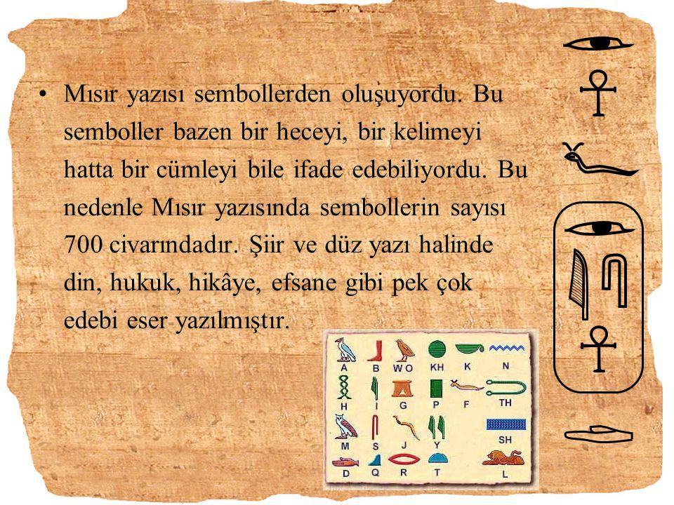 Mısır yazısı sembollerden oluşuyordu. Bu semboller bazen bir heceyi, bir kelimeyi hatta bir cümleyi bile ifade edebiliyordu. Bu nedenle Mısır yazısınd