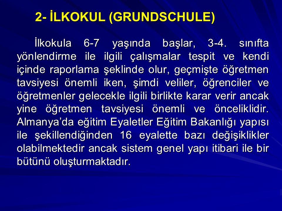 2- İLKOKUL (GRUNDSCHULE) İlkokula 6-7 yaşında başlar, 3-4.