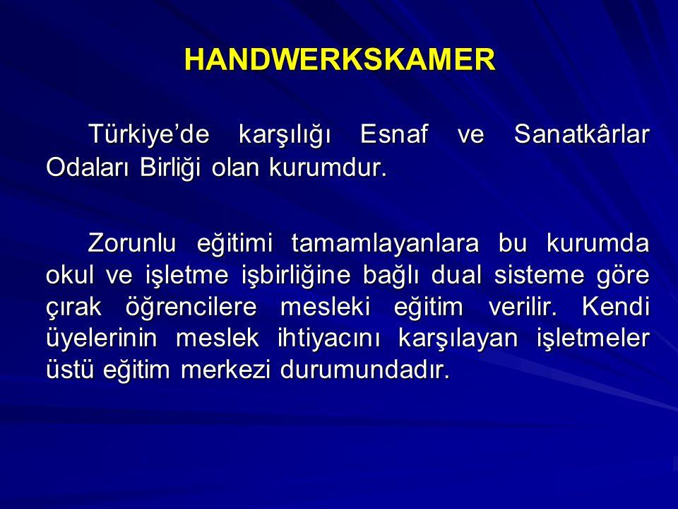 HANDWERKSKAMER Türkiye'de karşılığı Esnaf ve Sanatkârlar Odaları Birliği olan kurumdur. Zorunlu eğitimi tamamlayanlara bu kurumda okul ve işletme işbi