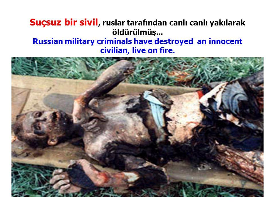 Suçsuz bir sivil, ruslar tarafından canlı canlı yakılarak öldürülmüş... Russian military criminals have destroyed an innocent civilian, live on fire.