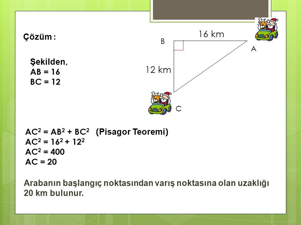 16km 12km Bir araba bulunduğu yerden 16 km batıya hareket edip daha sonra sola dönüp 12 km güneye doğru hareket etmişse başlangıç noktasından kaç km u