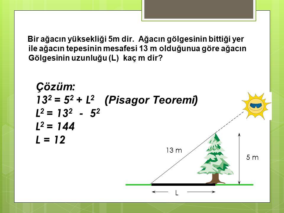 Çözüm : Şekilden ABC dik üçgenini oluşturursak: AB = 200 BC = 160 AB 2 = AC 2 + BC 2 ( Pisagor Teoremi ) 200 2 = AC 2 + 160 2 AC 2 = 14400 AC = 120 Bö