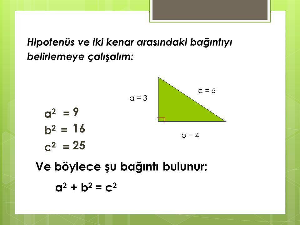 a 2 = b 2 = c 2 = 9 16 25 Ve böylece şu bağıntı bulunur: a 2 + b 2 = c 2 c = 5 a = 3 b = 4 Hipotenüs ve iki kenar arasındaki bağıntıyı belirlemeye çalışalım: