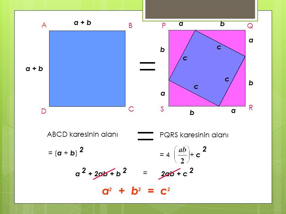 a + b A B C D ABCD karesinin alanı = ( a + b ) 2 b b a b b a a a c c c c P Q R S PQRS karesinin alanı = 4 + c 2 a 2 + 2ab + b 2 = 2ab + c 2 a 2 + b 2 = c 2