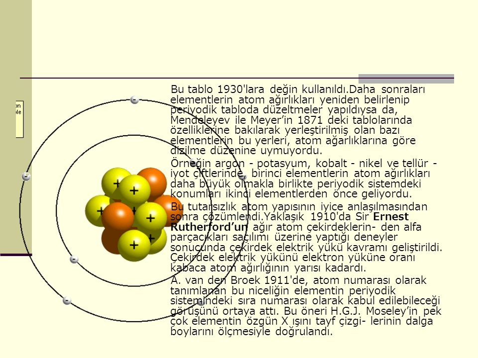 Bu tablo 1930′lara değin kullanıldı.Daha sonraları elementlerin atom ağırlıkları yeniden belirlenip periyodik tabloda düzeltmeler yapıldıysa da, Mendeleyev ile Meyer'in 1871 deki tablolarında özelliklerine bakılarak yerleştirilmiş olan bazı elementlerin bu yerleri, atom ağarlıklarına göre dizilme düzenine uymuyordu.