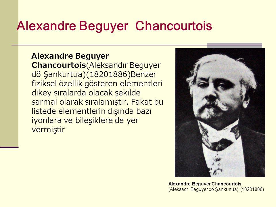 Alexandre Beguyer Chancourtois Alexandre Beguyer Chancourtois(Aleksandır Beguyer dö Şankurtua)(18201886)Benzer fiziksel özellik gösteren elementleri dikey sıralarda olacak şekilde sarmal olarak sıralamıştır.