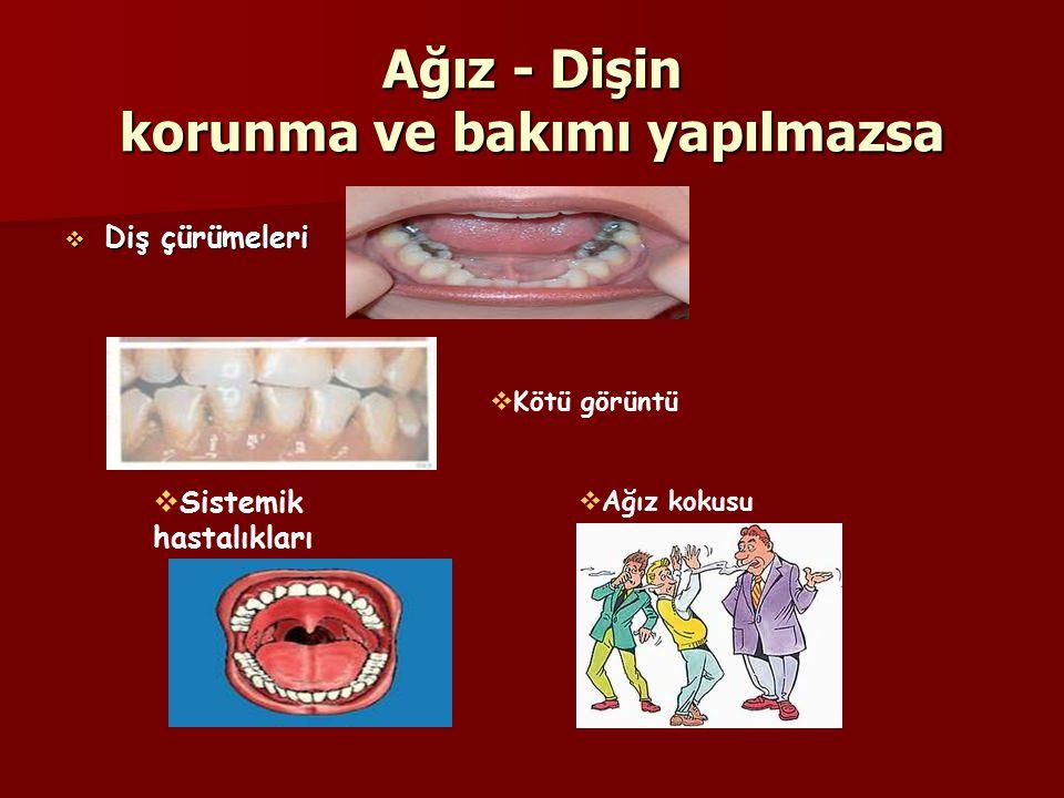 Ağız - Dişin korunma ve bakımı yapılmazsa  Diş çürümeleri  Kötü görüntü  Sistemik hastalıkları  Ağız kokusu