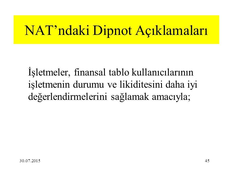 NAT'ndaki Dipnot Açıklamaları İşletmeler, finansal tablo kullanıcılarının işletmenin durumu ve likiditesini daha iyi değerlendirmelerini sağlamak amacıyla; 30.07.201545