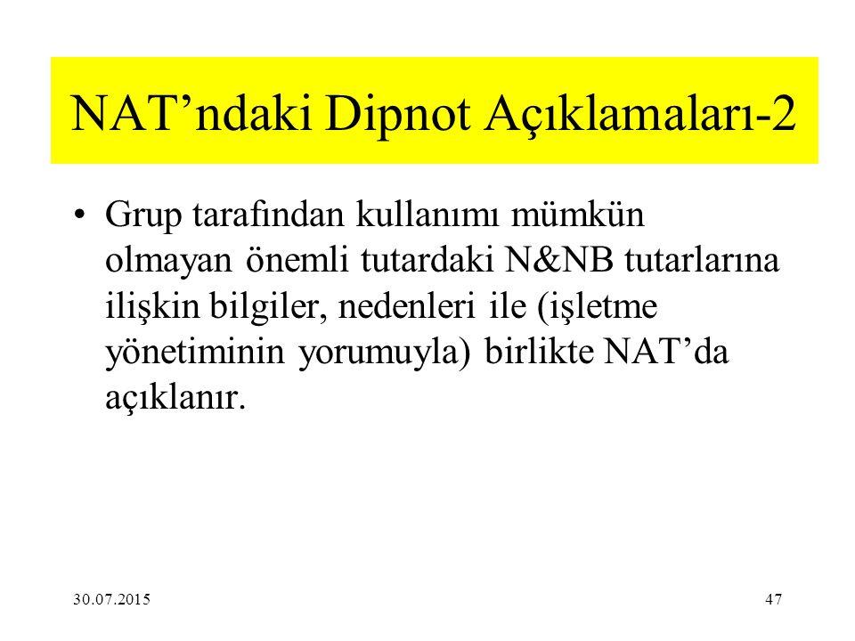 NAT'ndaki Dipnot Açıklamaları-2 Grup tarafından kullanımı mümkün olmayan önemli tutardaki N&NB tutarlarına ilişkin bilgiler, nedenleri ile (işletme yönetiminin yorumuyla) birlikte NAT'da açıklanır.