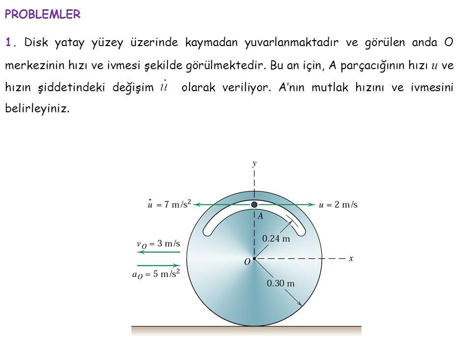 PROBLEMLER 1. Disk yatay yüzey üzerinde kaymadan yuvarlanmaktadır ve görülen anda O merkezinin hızı ve ivmesi şekilde görülmektedir. Bu an için, A par