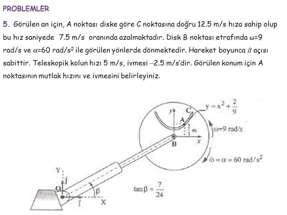 5. Görülen an için, A noktası diske göre C noktasına doğru 12.5 m/s hıza sahip olup bu hız saniyede 7.5 m/s oranında azalmaktadır. Disk B noktası etra