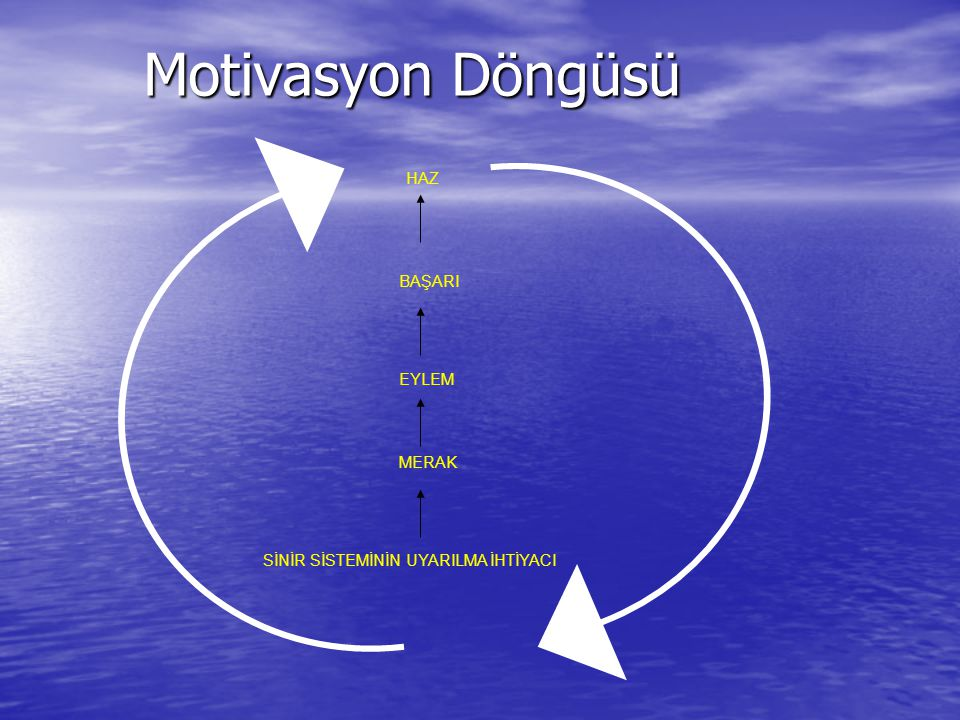 Motivasyon Döngüsü Motivasyon Döngüsü HAZ BAŞARI EYLEM MERAK SİNİR SİSTEMİNİN UYARILMA İHTİYACI
