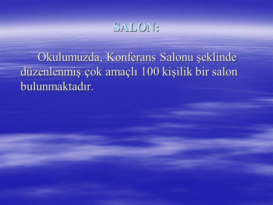 SALON: Okulumuzda, Konferans Salonu şeklinde düzenlenmiş çok amaçlı 100 kişilik bir salon bulunmaktadır.