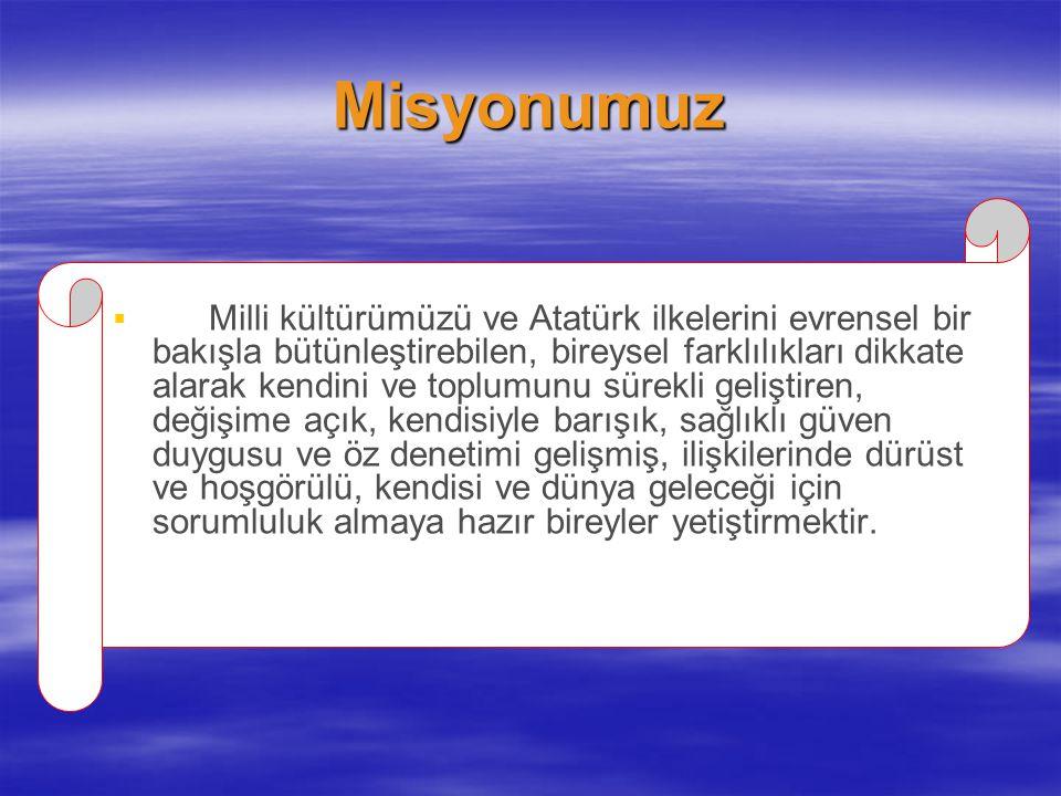 Misyonumuz   Milli kültürümüzü ve Atatürk ilkelerini evrensel bir bakışla bütünleştirebilen, bireysel farklılıkları dikkate alarak kendini ve toplum