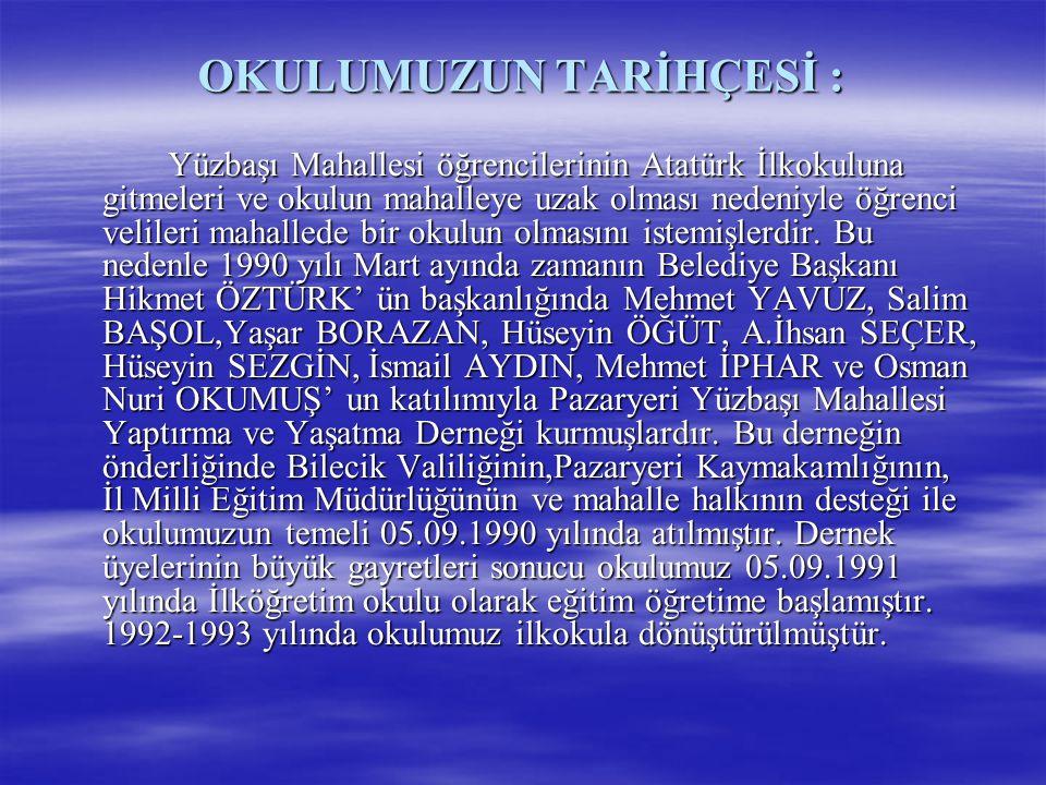 OKULUMUZUN TARİHÇESİ : Yüzbaşı Mahallesi öğrencilerinin Atatürk İlkokuluna gitmeleri ve okulun mahalleye uzak olması nedeniyle öğrenci velileri mahall