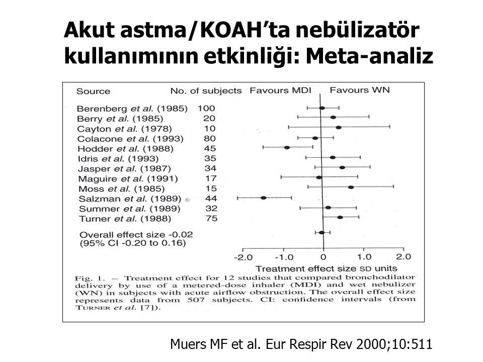 Akut astma/KOAH'ta nebülizatör kullanımının etkinliği: Meta-analiz Muers MF et al. Eur Respir Rev 2000;10:511
