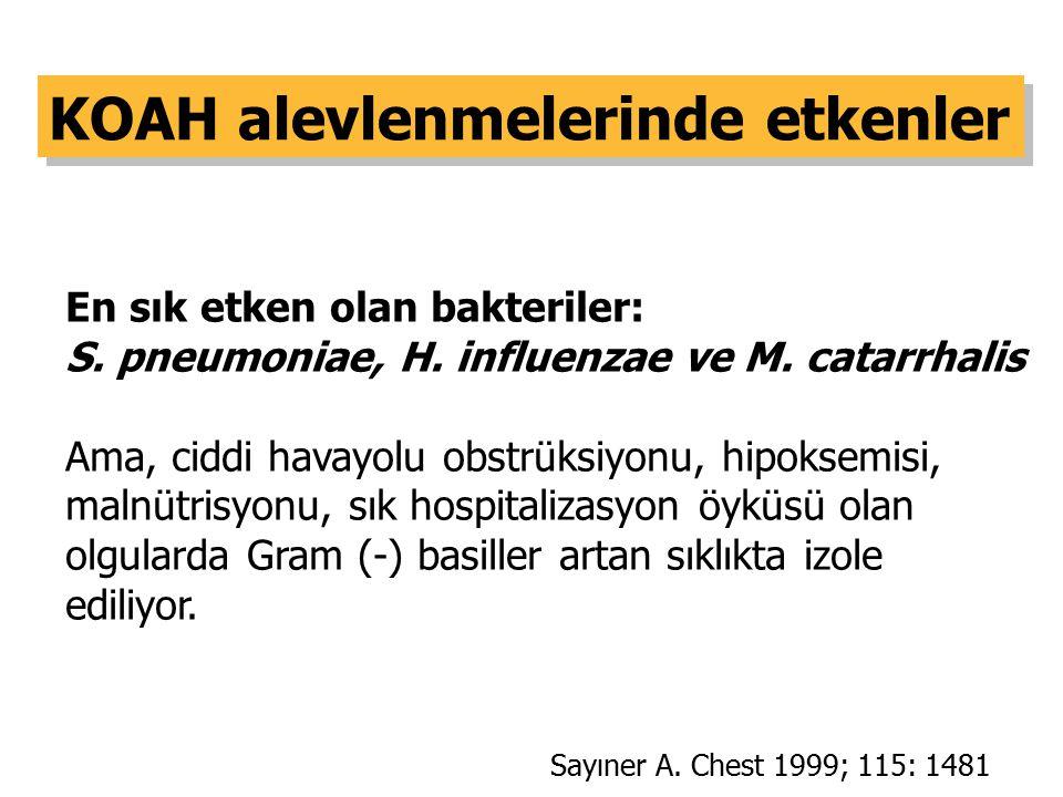 En sık etken olan bakteriler: S. pneumoniae, H. influenzae ve M. catarrhalis Ama, ciddi havayolu obstrüksiyonu, hipoksemisi, malnütrisyonu, sık hospit