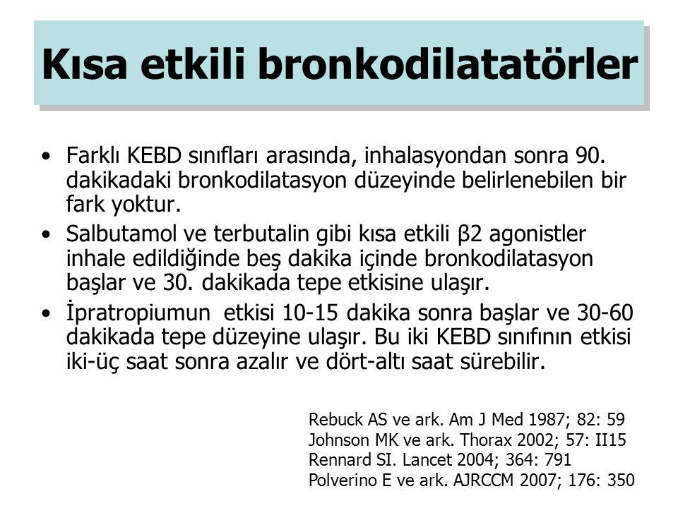 Kısa etkili bronkodilatatörler Farklı KEBD sınıfları arasında, inhalasyondan sonra 90. dakikadaki bronkodilatasyon düzeyinde belirlenebilen bir fark y