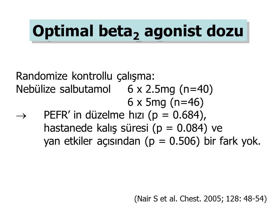 Randomize kontrollu çalışma: Nebülize salbutamol 6 x 2.5mg (n=40) 6 x 5mg (n=46)  PEFR' in düzelme hızı (p = 0.684), hastanede kalış süresi (p = 0.08